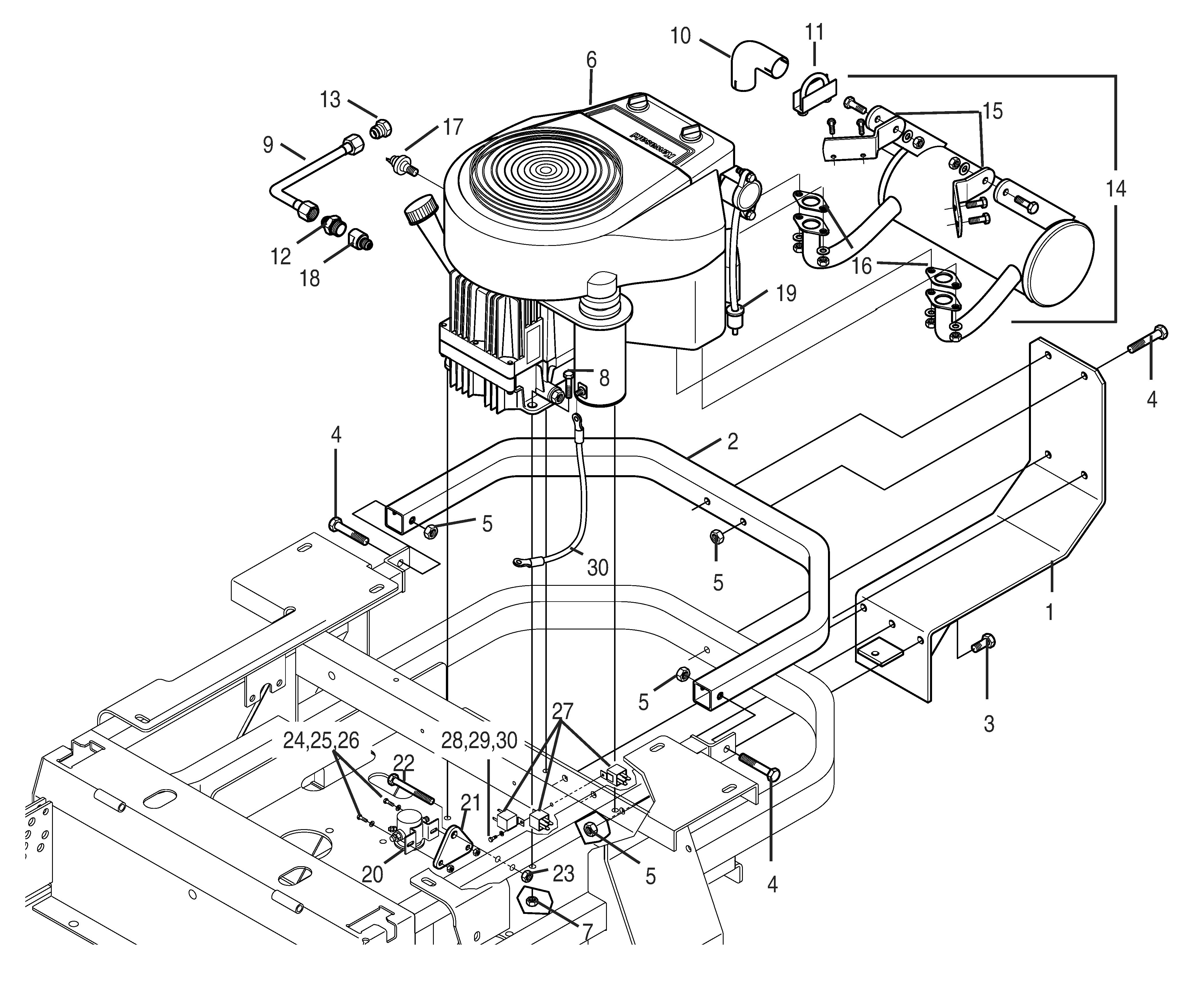 Bush Hog M2561 Mid Mount Zero Turn Parts Kawasaki Engine Mounting Diagrams Hover Over Image For Expanded View