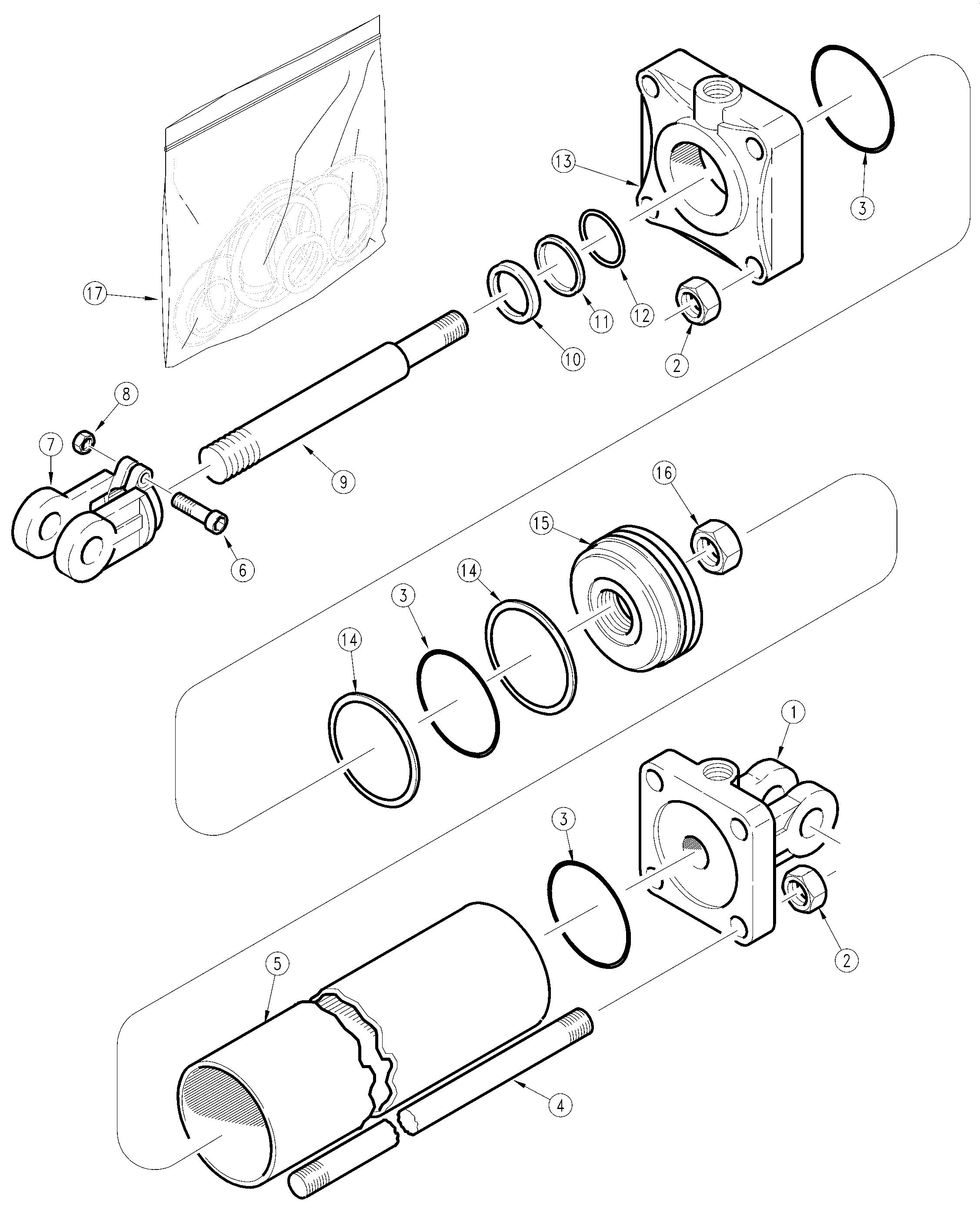 Land Pride BB4510 Drag Scraper Hydraulic Cylinder (810-624C