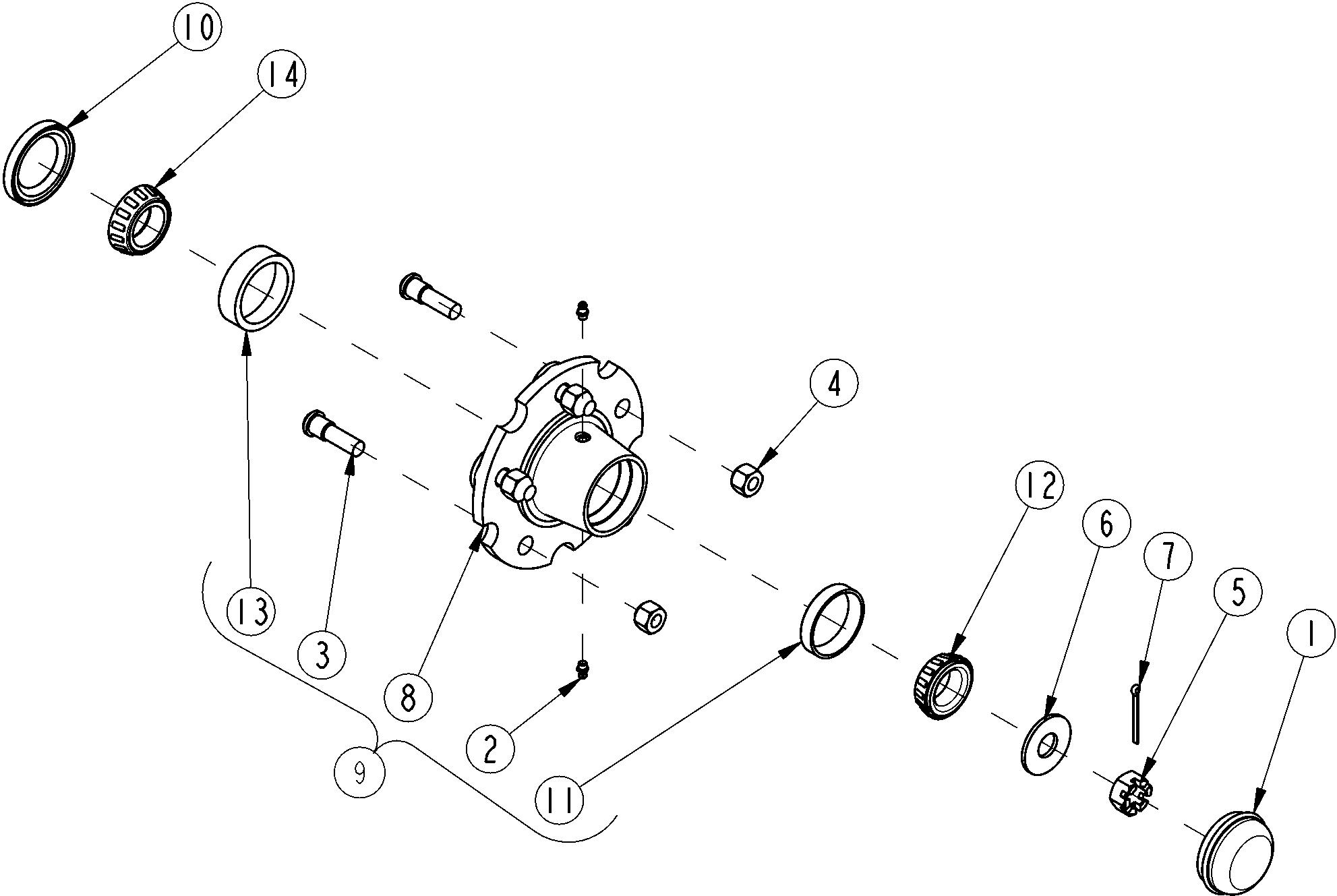 Land Pride BB4596 Drag Scraper Hub Assembly 5-Bolt (322-288K