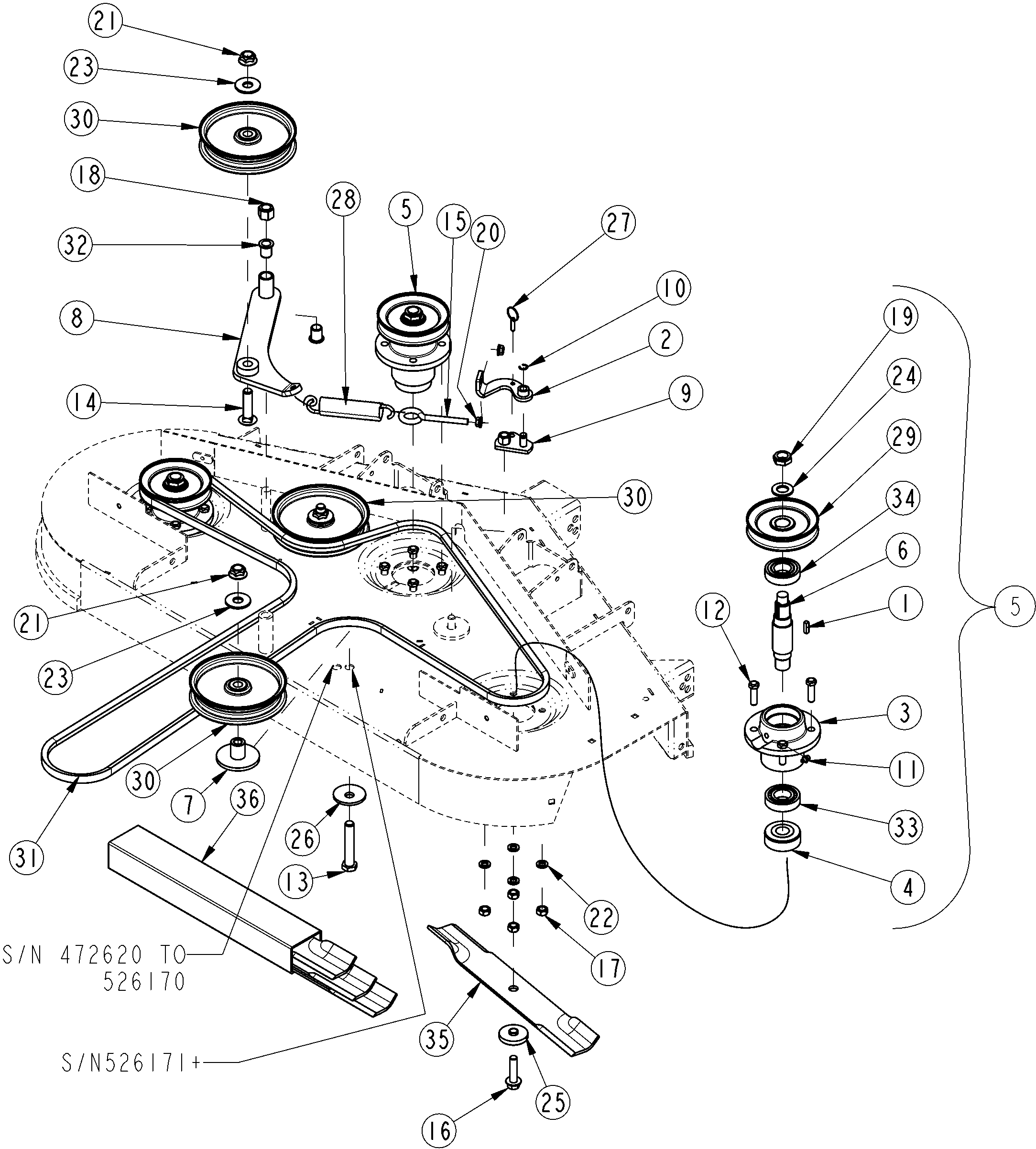 land pride razor z44 sn 472620 and above zero turn mower deck pulleys and drive belt assembly land pride razor z44 (sn 472620 and above) zero turn mower deck land pride treker 4410 wiring diagram at crackthecode.co